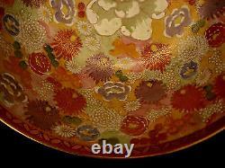 11 3/4 MARKED Satsuma JAPANESE SHOWA PERIOD THOUSAND FLOWER SATSUMA BOWL