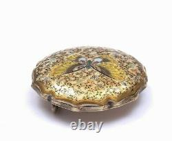 1900's Japanese Satsuma Earthenware Button Belt Buckle with Butterfly