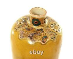 1900's Japanese Satsuma Earthenware Vase Peony Bird Marked Taizan Yohei