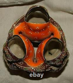 1920s Japan Satsuma 3 Spill Dancing Frogs Kaeru Good Luck Okimono Objet d'Art