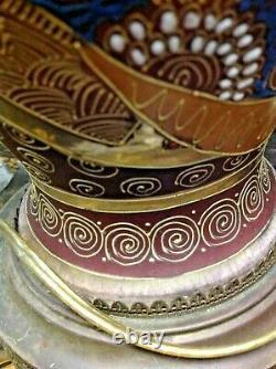 $225 Antique Japanese Moriage Satsuma Table Lamp