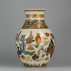 45.5cm Antique 19C Japanese Satsuma Vase Decorated with all types of Porcelain