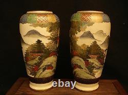 7 H MARKED Satsuma JAPANESE TAISHO PERIOD SATSUMA MIRROR PAIR VASE