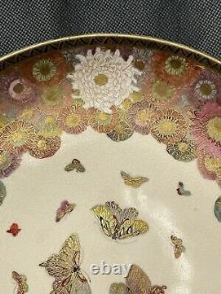 A Pair of Spectacular Large Antique Japanese Meiji Era Satsuma Plates 25CM
