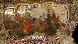 Antique 19c Japanese Meiji Satsuma Porcelain Incense Burner Koro 12h