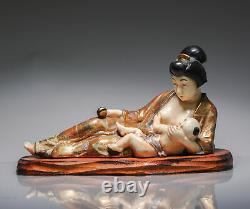 Antique 20th c Taisho Japanese Kyo Satsuma Statue of Mother and Child Marked