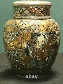 Antique Ceramic Japanese Kutani / Satsuma Lidded Jar