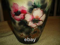 Antique Japanese Chinese Moriage Satsuma Vase Painted Flowers Handles Large