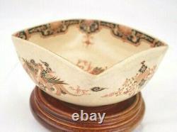 Antique Japanese Imperial Satsuma Gosu Blue Signed Square Bowl 4 3/4 Inches