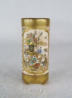 Antique Japanese Miniature Satsuma Cylindrical Vase Hand Painted Signed