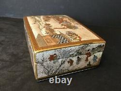 Antique Japanese Satsuma Box, Meiji period. Signed Seikozan