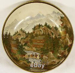 Antique Japanese Satsuma Ceramic Bowl Signed circa1890 9 1/2 24 cm