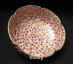 Antique Japanese Satsuma Handpainted Thousand Butterflies Bowl 1000 Gilt Signed