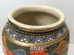 Antique Japanese Satsuma Handpainted Vase, Signed, 13 Tall x 8 Widest