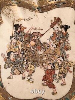 Antique Japanese Satsuma Scalloped Immortal Plate, Meiji Era 19C