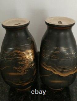 Antique Japanese Satsuma Vases Artist Marks Black Matte Glaze Hand painted Gold