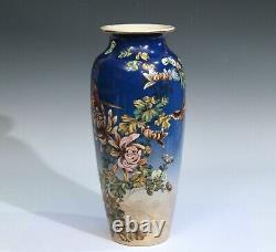Antique Kinkozan Pottery Kyoto Satsuma Blue Japanese Zen Flower Butterflies Vase