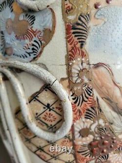 Antique Large Porcelain Satsuma Vase Meiji Dynasty Pre-1900 Immortals- Warriors