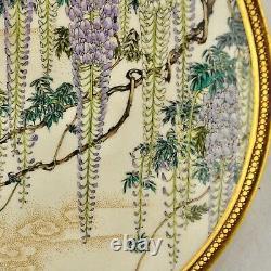 Antique Meiji-period Japanese Satsuma Wisteria floral plate by Ryuun Fuzan