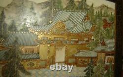 Antique RARE Japanese Meiji Large Square Satsuma Dai Nippon Censer & Cover Koro