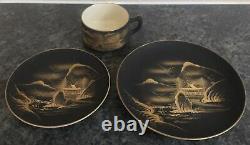 Antique SATSUMA pottery BLACK & GOLD PAGODA LAKE MOUNTAIN pattern 21pc TEASET