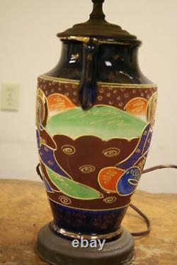 Antique Satsuma Figural Meiji Vase Lamp