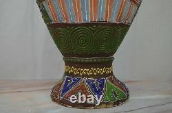 Antique c. Meiji Japanese Moriage Satsuma Detail Handpainted Vase, 25 Tall