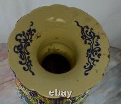Antique c. Meiji Japanese Moriage Satsuma Detail Handpainted Vase, 25 Tall B