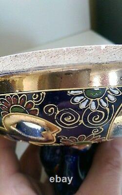 Antique japanese satsuma koro meiji blue foo dog handles large
