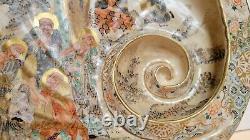 Antique shell-form Japanese Satsuma earthenware platter of abalone Meiji period