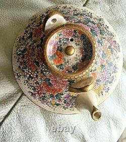 Beautiful Antique Japanese Satsuma Miniature Teapot / floral design- Kinkozan