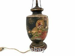 C. 1900 Japanese Satsuma Porcelain Moriage Lamp withDouble Sockets Immortals