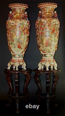 Exceptional Pair Of Large Vases Satsuma. Glazed Porcelain. Japan. XIX