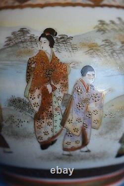 Fine Antique Signed Meiji Gold Satsuma Rivers Edge Scene Flower Lid Sugar Bowl