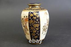Fine quality Blue Ground antique Satsuma Vase, Kinkozan Warriors & court scene