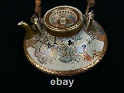 Japanese Antique Satsuma Teapot Signed Kyusu kimono ocha tea ceremony (b501)