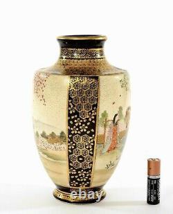 Japanese Cobalt Blue Satsuma Earthenware Vase Geisha Samurai Figure Sg Nambe