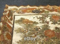 Japanese Meiji Satsuma Tray with Birds, Signed