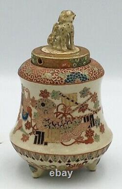 Japanese Meiji Tripod Satsuma Koro With Foo-dog, Signed