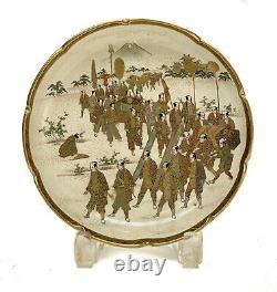 Japanese Satsuma Hand Painted Dish, Meiji Period. Warriors Marching
