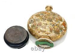 Japanese Satsuma Porcelain Hand Painted Moon Flask Vases, Meiji Period