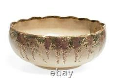 Japanese Satsuma Ware Pottery Bowl with Mount Fuji & Pagodas Signed Shizan