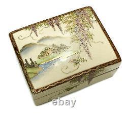 Koshida Japanese Satsuma Hand Painted Porcelain Box