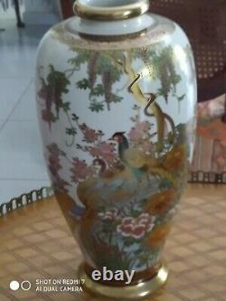 Koshida Japanese Satsuma Vase with Peacocks Signed Meji Period