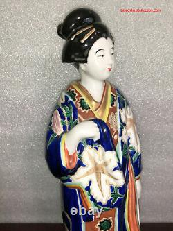 Large 13.5H Japanese Satsuma Kutani Imari Porcelain Geisha Bijin Statue Okimono
