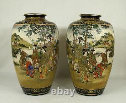 Large Antique Japanese Pottery Meiji Cobalt Blue Satsuma Pair of Vases Signed