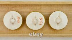 Meiji Japanese Satsuma set of 3 painted floral blossom buttons signed Kinkozan