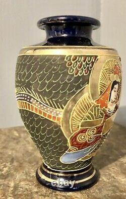 Moriage Satsuma Japan Gold Gilt Vase with Cobalt Blue-Hand Painted Dragonware