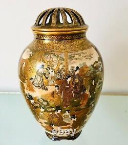 Museum Quality Antique Japanese Kinkozan Family Satsuma Vase