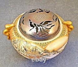 Museum Quality Japanese Meiji Satsuma Koro with Silver Lid